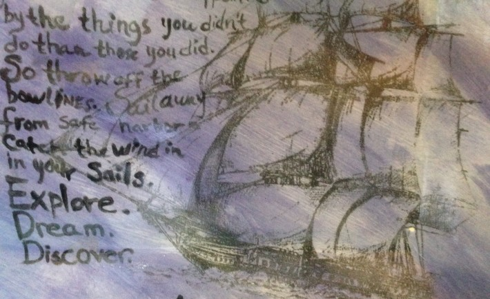 """The sailboat is the """"tattoo"""" silk screen, laid over the painted background"""