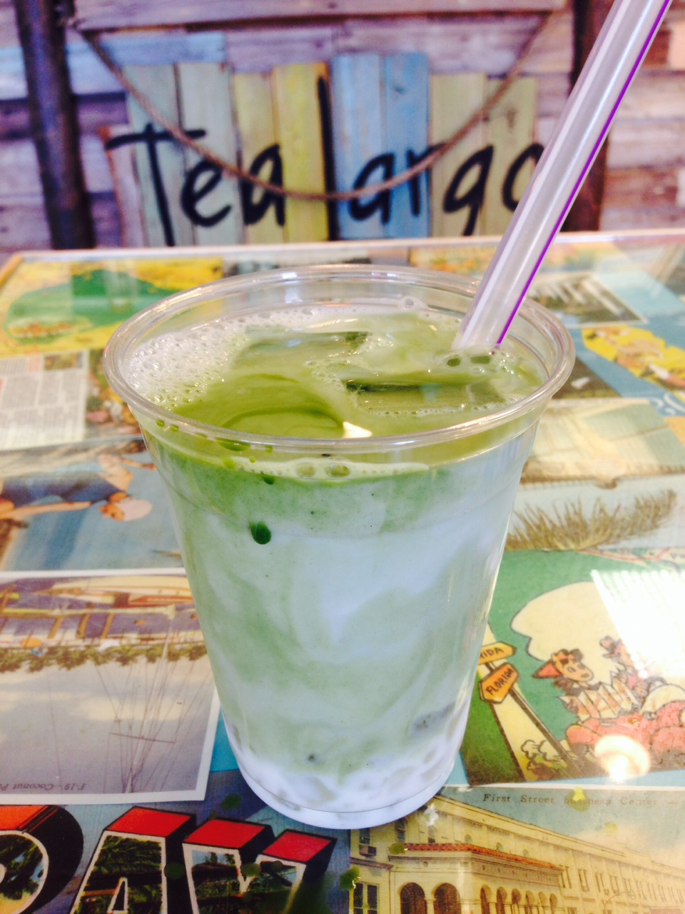 Iced Matcha Latte with Aloe Vera Jellies