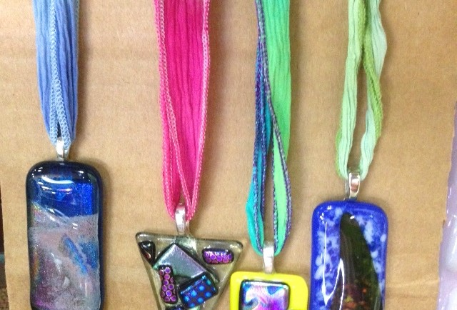 Fused glass pendants on silk ribbons