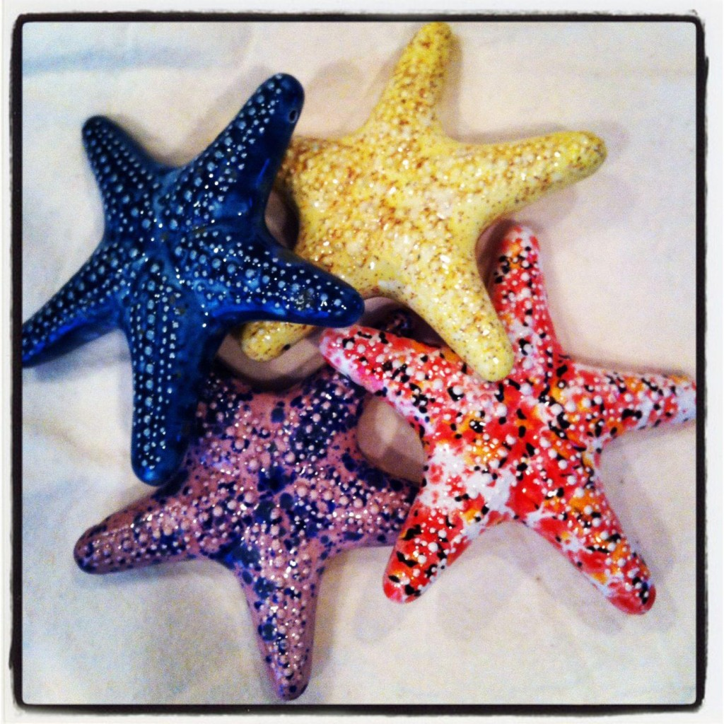 starfish plaques with crystal glazes
