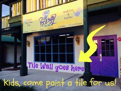Local kids are invited to paint a tile wall for PicassoZ Art Cafe