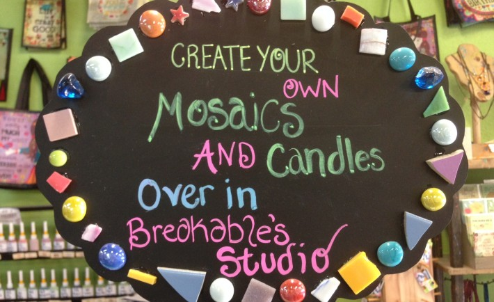 Create your own mosaics & candles over in Breakables Studio