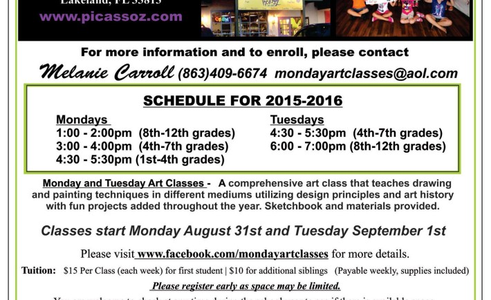 Monday & Tuesday art classes