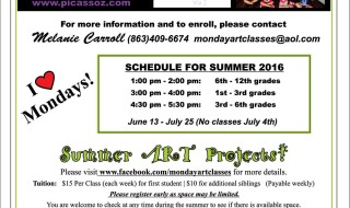 Monday Art Classes Summer Schedule