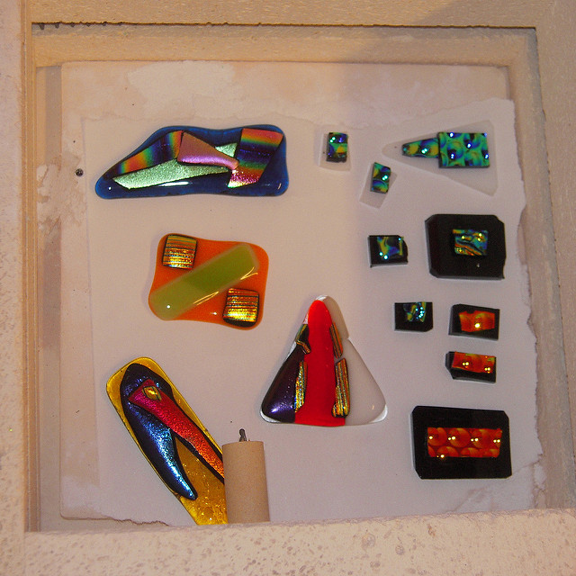 fused glass in kiln