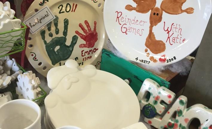 Christmas handprint plates